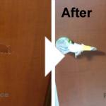 木目ドアの穴補修/施工事例